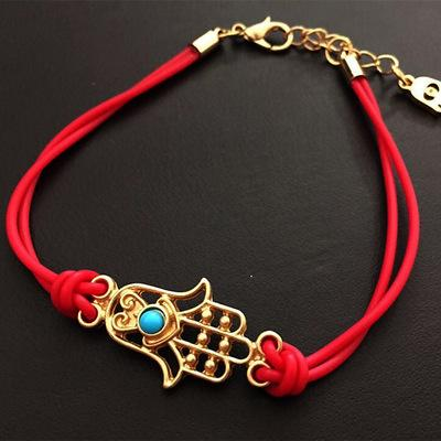 2016 Newest Gold Hamsa Hnad Evil Eye Bracelet Turquoise Stone Gold Plated Braclets Lucky Charms Jewelry for Women Bridal