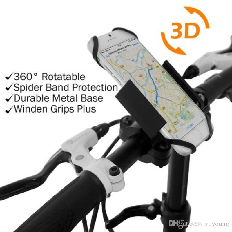 Motorcycle Bicycle MTB Bike Handlebar Car Mount Holder for CellPhone GPS - 360 Degree rotable Spider Net protetion - Black