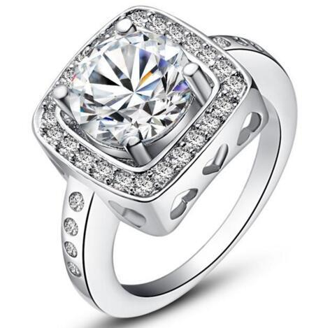 new design 925 sterling swiss CZ Diamond Wedding Ring Platinum Plated Top quality fashion jewelry