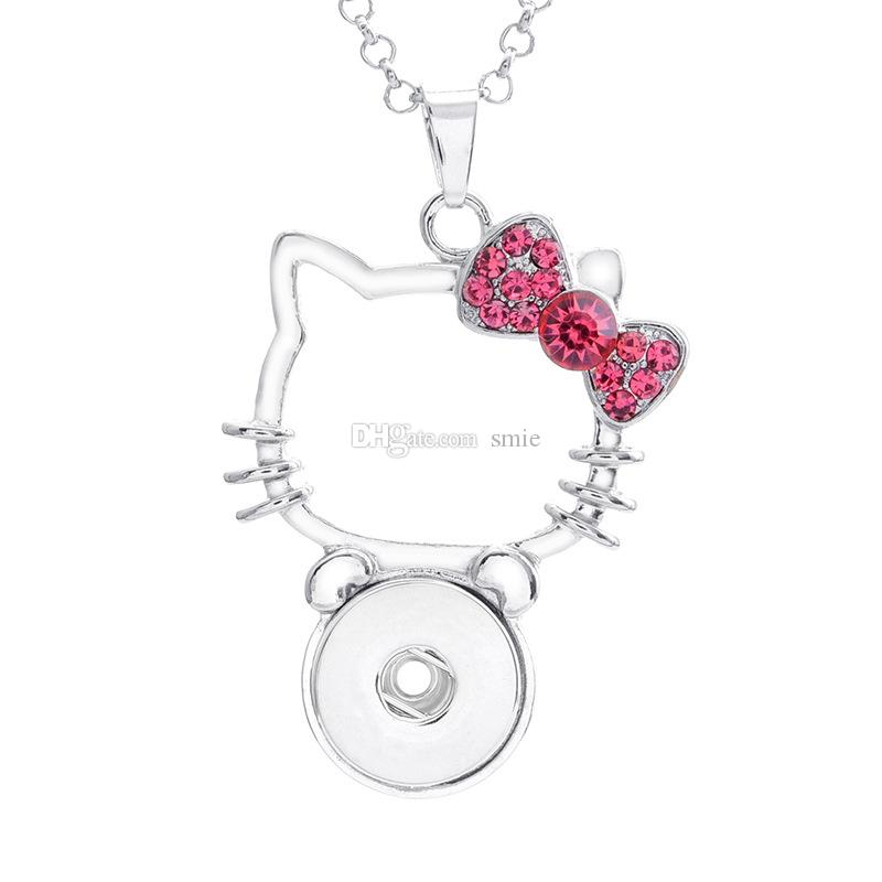 Fashion Women NOOSA Necklace Snap Button Angel Crown Hello Kitty Charm Crystal Necklace Jewelry With 316L Stainless steel chain