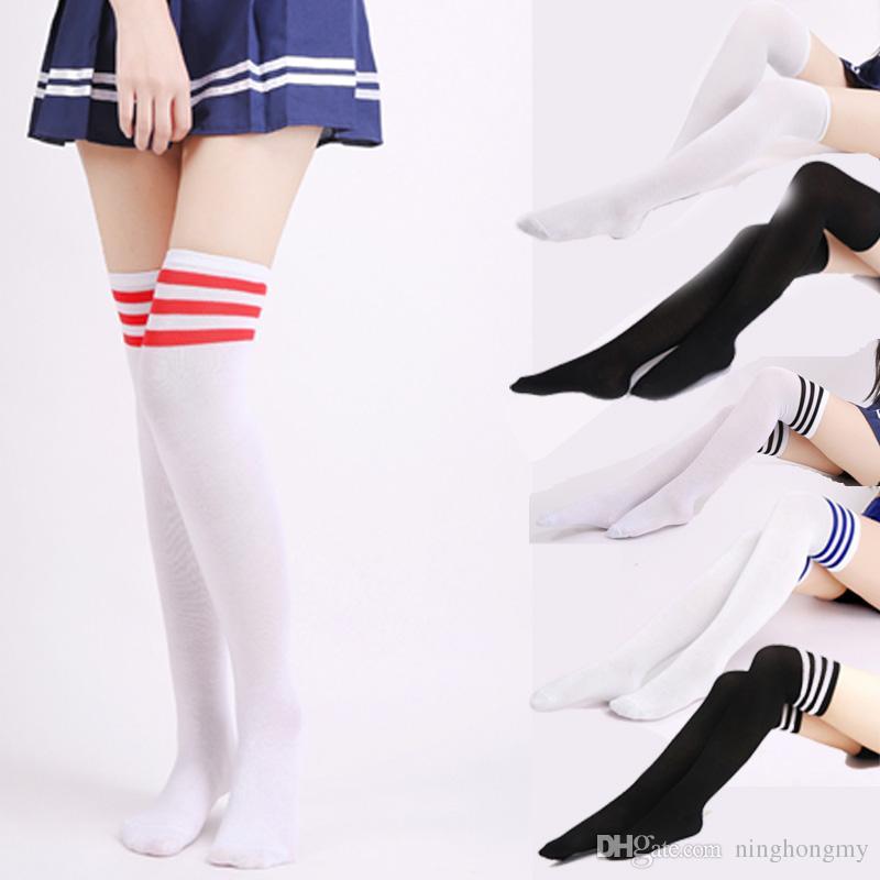 a147f99e7b1 2019 College Wind Women Fashion Thigh High Socks Sexy Warm Cotton Over The  Three Bars Knees High Tube Student Socks High Hot Cotton Thigh From  Ninghongmy
