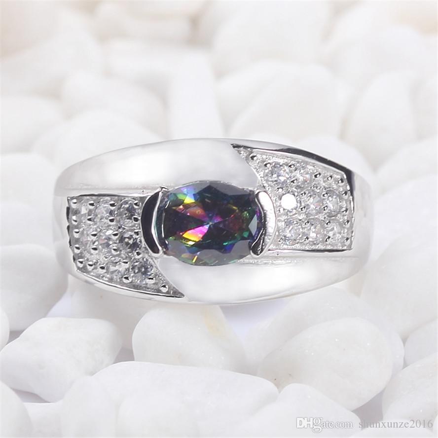 925 sterling silver for women Anéis Rainbow Fire Mystic Cubic Zirconia Favorito S - 3721 sz # 6 7 8 9 Comentários elogiosos Noble Generous Novo padrão