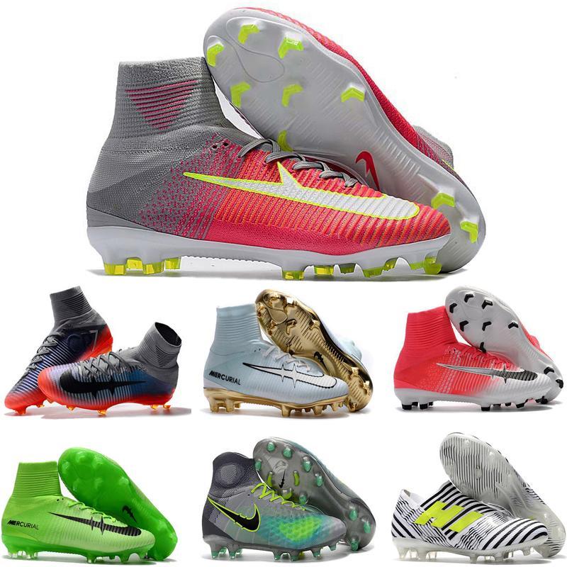 Acheter 2018 Original Mercurial Superfly V Hommes Soccer Cleats Cristiano  Ronaldo Cr7 Chaussures De Football À Grosse Cheville Bottes De Football  Unisex