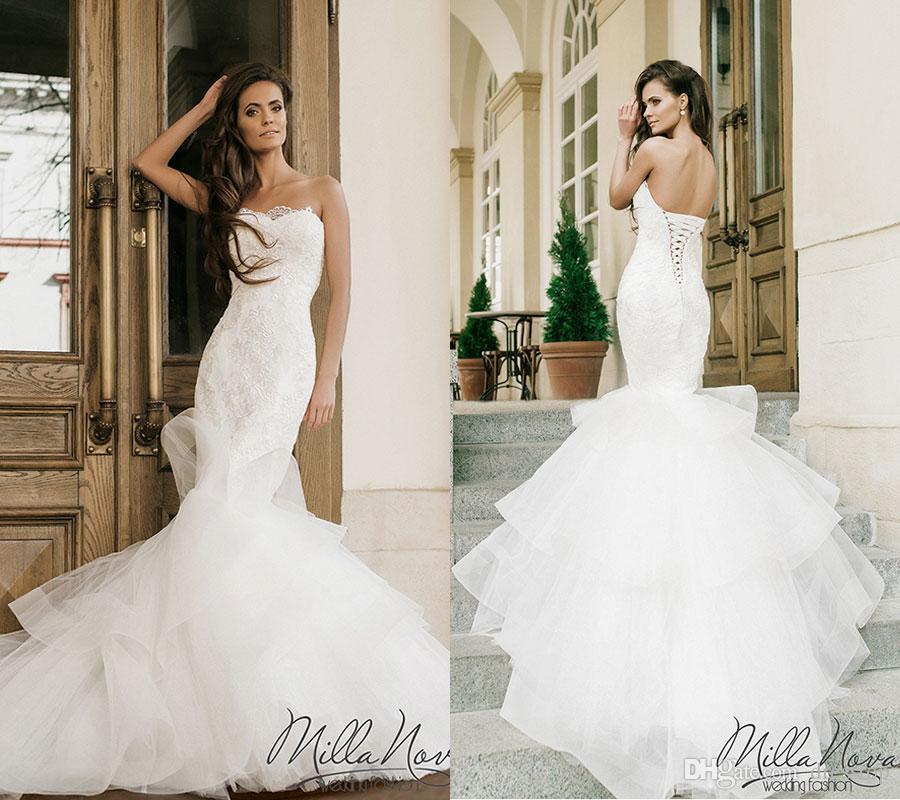 Strapless Mermaid Wedding Dresses: Chic Lace Mermaid Wedding Dresses Strapless Neckline