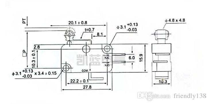 V-155-1C25 Mikroschalterhebel Langes Scharnier / Hebelarm / Rolle NO + NC Nagelneuer Mikroschalter mit Momentanbegrenzung SPDT-Schnappschalter