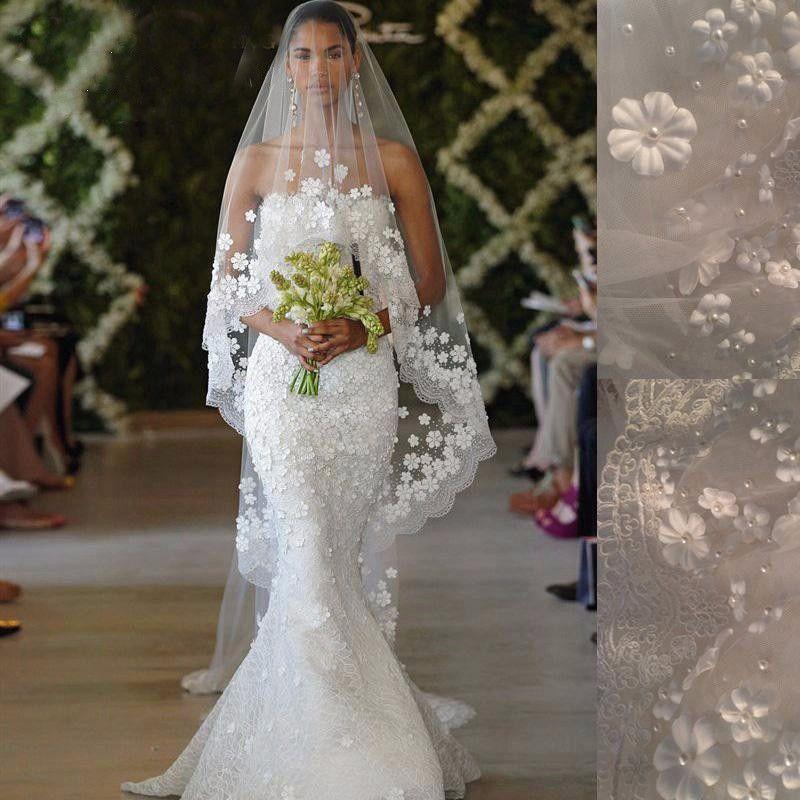 Bridal voile Blanc / Ivoire 3m Long Long Veil de mariage Mantila Accessoires de mariage Vedu de Noiva avec perles de perles de fleurs en dentelle