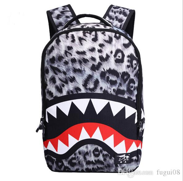 2017 New Fashion Leopard Shark Mouth Backpacks For Teenagers 18 Inch