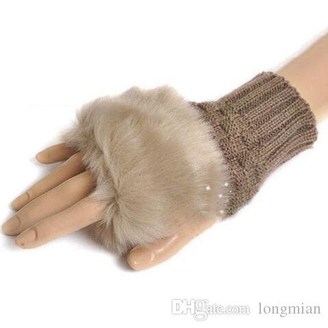 Kış Kadın Sıcak Faux Fox Kürk Parmaksız Eldiven Kadın Örme Bilek Eldiven Yarım Parmak Eldiven Eldivenler, Guantes Mujer