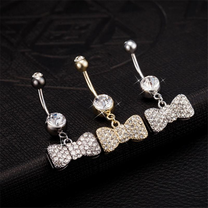 New Arrival hot girls Pretty Rhinestone Bow Navel Belly Button Barbell Ring Body Piercing for Young Sexy Ladies BR-027
