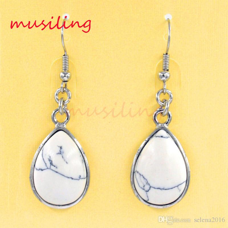 Jewelry Water Drop Dangle Earrings Natural Gem Stone Bead Charms Accessories Silver Plated European Fashion Jewelry For Women