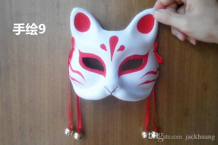 Hand-painted Fox Mask Endulge Japanese Full Face Pulp Halloween Animal Mask Masquerade Cosplay Party Masks 5 style