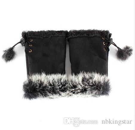 Fashion Women Girl Faux Rabbit Fur Hand Warmer Winter Fingerless Gloves Mittens