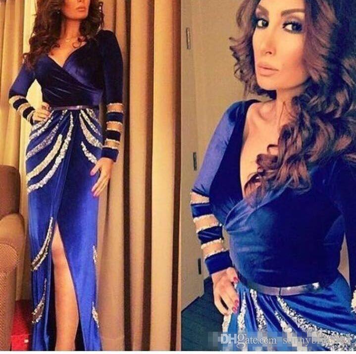 Elegant Formal Long Sleeves Evening Gowns Vestidos De Festa V neck Sexy Split 2017 Velvet Blue Party Prom Dress Sheath Gowns for Pageant