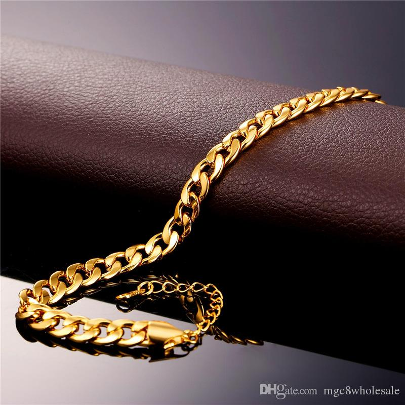 U7 Cuban Link Chain Anklet Summer Jewelry Foot Bracelet For Men/Women 18K Real Gold/Platinum Plated Simple Link Chain Barefoot Sandals