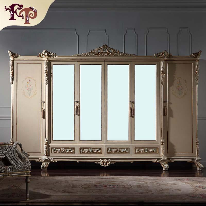 2018 Antique Classic Furniture Baroque Wardrobe Italian Bedroom Furniture Luxury Hand Carved 6
