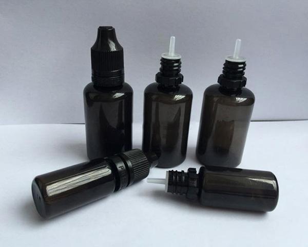 10ml 30ml bouteille noire de compte-gouttes d'ANIMAL FAMILIER de PET bouteilles vides avec les bouts longs et minces d'inviolable de casquettes d'épreuve E bouteilles liquides d'aiguille