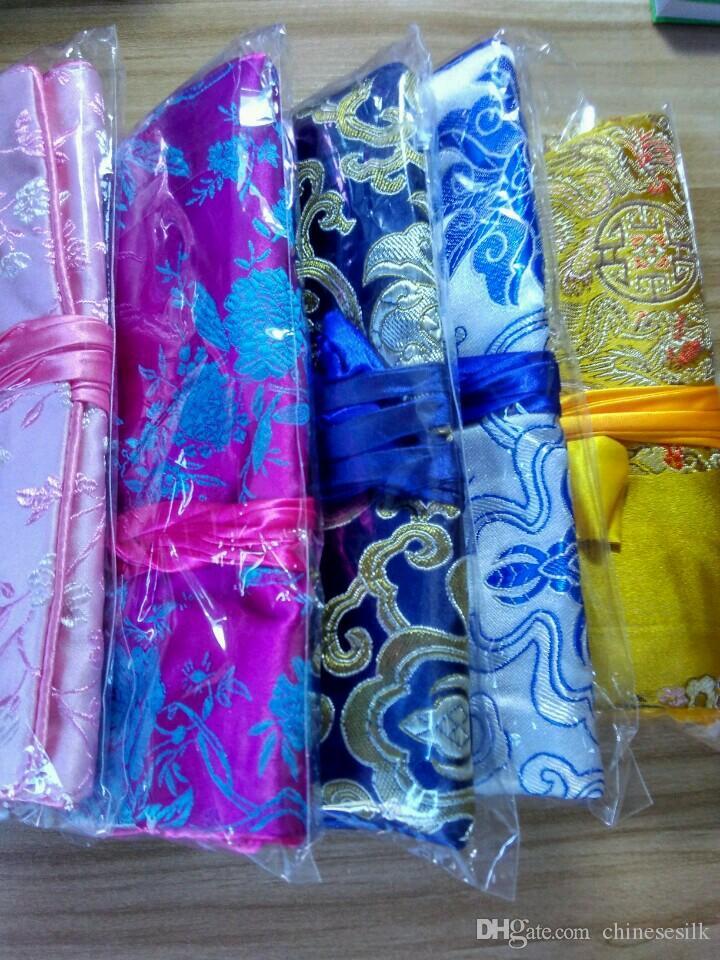 Luksusowe Podróże Biżuteria Rolka Torba Silk Brocade Składany Duży Makijaż Torba Kwiat Sznurka Kosmetyczna Torba Pokrowiec Dla Kobiet 10 sztuk / partia