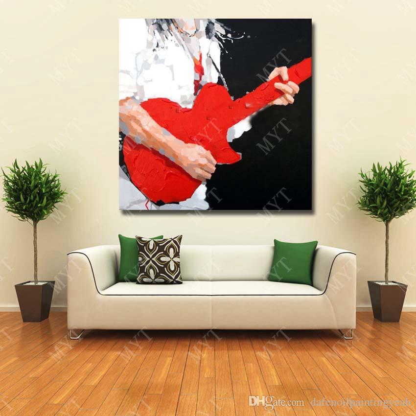 Acheter Jouer Guitare Peinture à L Huile Mur Art Décoratif Chambre Mur Photos Moderne Peinture à L Huile Sur Toile En Gros à Vendre De 12 82 Du
