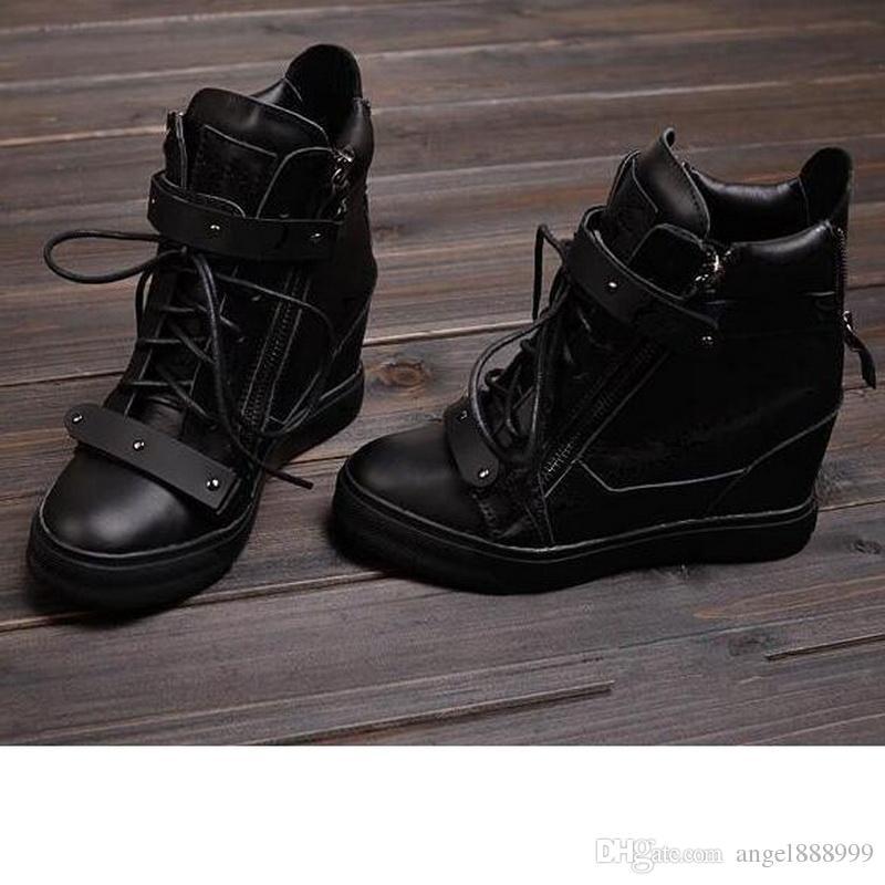 2016 nuovo modo di marca High Top Sneakers Zeppe Stivali Donna all'interno della più alta pattini high-top in pizzo Doppia lamiera Scarpe metallo Stivali neri