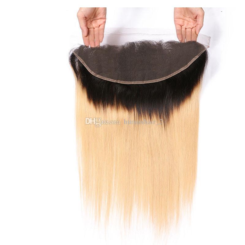 인간의 머리카락 번들 2 톤 옹블 1B 27 꿀 금발 똑바로 페루 버진 머리가 귀에 귀에 13 * 4 레이스 정면 폐쇄