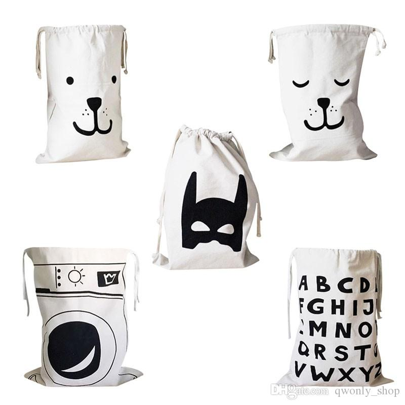INS Popular Canvas Bag for kids Children's room Clear Up Clothing Toy Storage Bags Bear Batman Pattern Pouch 66*46cm