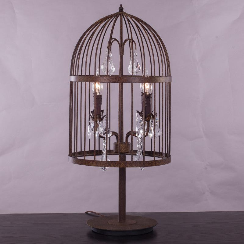 2019 Retro Antique Rust Wrought Iron Cage Crystal Table Lamps Large