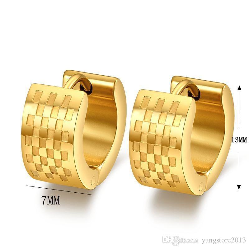 Fashion 18k guldpläterade hoop örhängen rostfritt stål punk biker män örhängen smycken grossist hoop örhängen EH-019