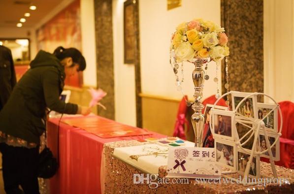 Düğün usta masa şamdan, Gümüş düğün yol kurşun, Çiçek Metal Vazo, Düğün Merkezinde 73 cm Boyunda
