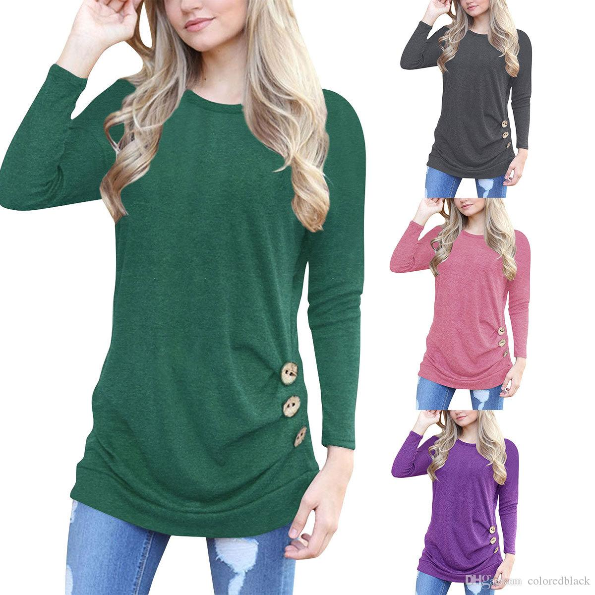 Wholesale Women Faddish T Shirt With Fastener Decoration Round