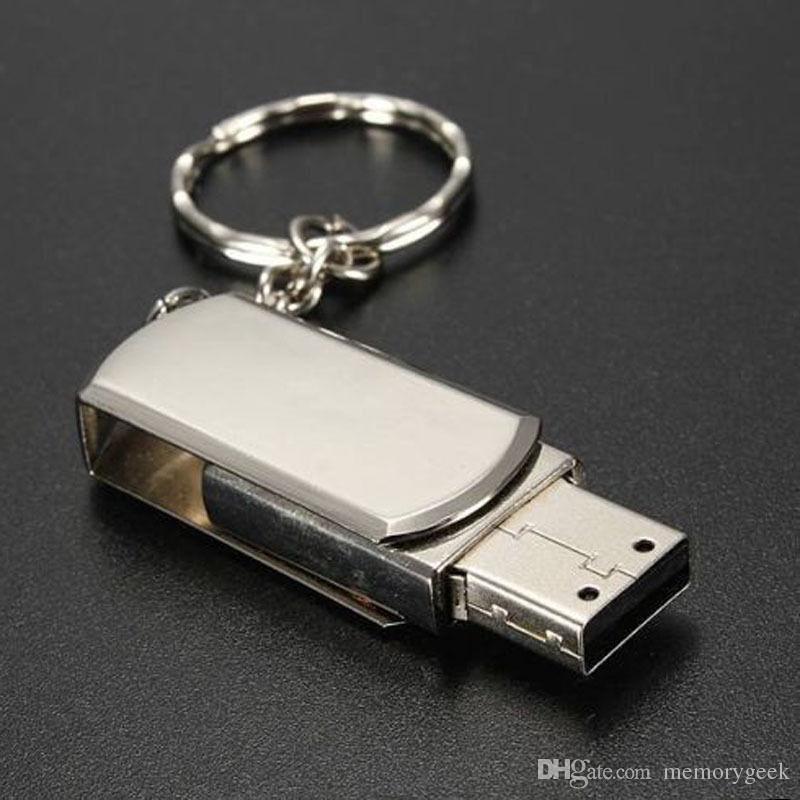 64 GB 128 GB Anahtarlık Ile 256 GB Altın Gümüş Metal Swive USB 2.0 Flash Sürücü Bellek Android ISO Akıllı Telefonlar Tabletler için PenDrives U Disk