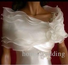 Cheap In Stock Organza Bolero Wraps For Wedding Ruffles Elegant Wedding Accessories Cheap Bridal Jackets / Shrug / Shawls