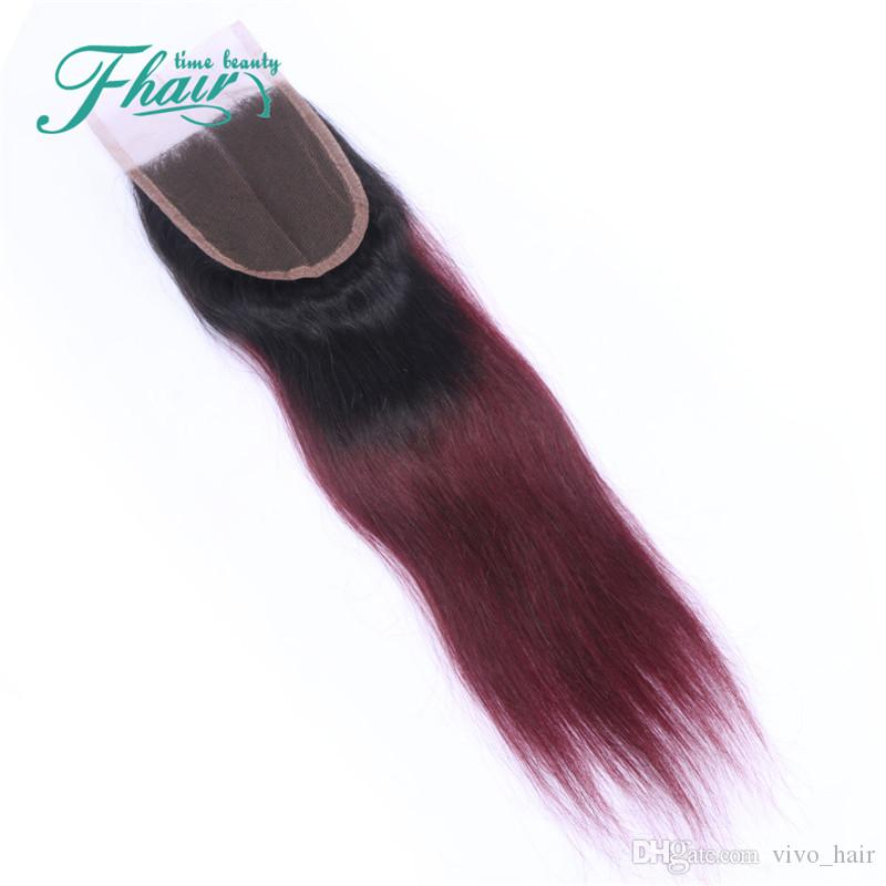 Malaysian Straight #1B/99J Wine Red Ombre Color 4*4 Lace Closure With Hair Bundles Virgin Hair With Closure Free Parting