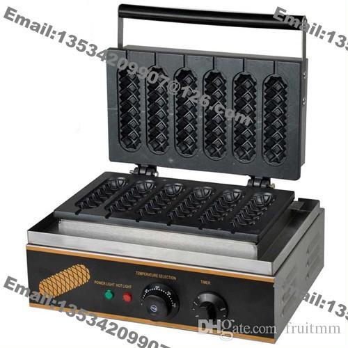 Envío gratis 2 en 1 comercial antiadherente 110 v 220 v eléctrico francés Hot Dog Lolly Waffle Baker Maker Machine soporte de acero inoxidable soporte