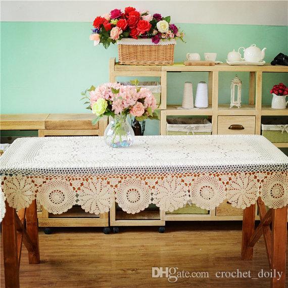 Прямоугольный крючком стол топпер, продолговатая скатерть, ручной крючком крышка стола, вязание крючком бежевые скатерти столовое белье для домашнего декора
