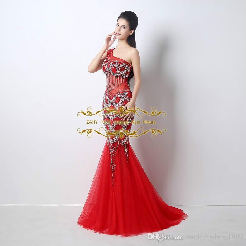 Vestido de gala real de tul pura imagen Vestido de cóctel rojo de Mermiad de un solo hombro 2018 Vestidos de baile de nueva sirena ZAHY