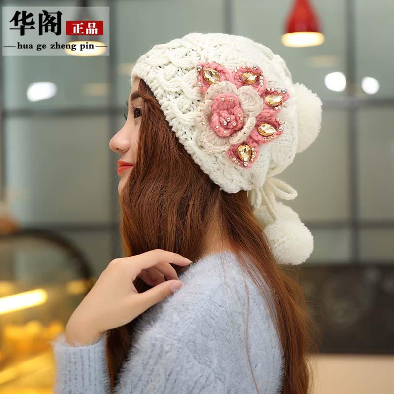 Female Autumn and Winter Women Cap Ladies Beret Hat Girl Warm Flower Beanie Caps