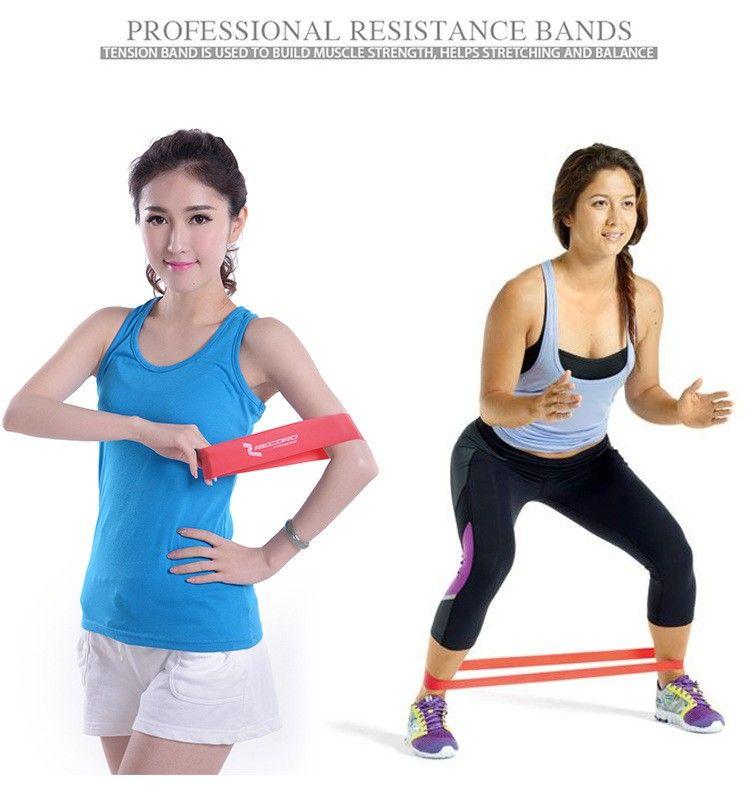 Récord de calidad Bandas de resistencia de goma establecen Banda de entrenamiento elástica de entrenamiento de fitness para Yoga Pilates ejercicio de culturismo crossfit banda