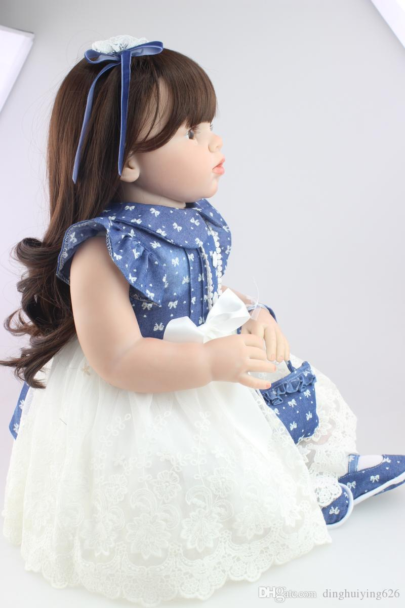 "28"" Soft Silicone Reborn Toddler Baby Doll Arianna Series Emulational Vinyl Baby Reborn Doll Baby Clothing Model for Sale"