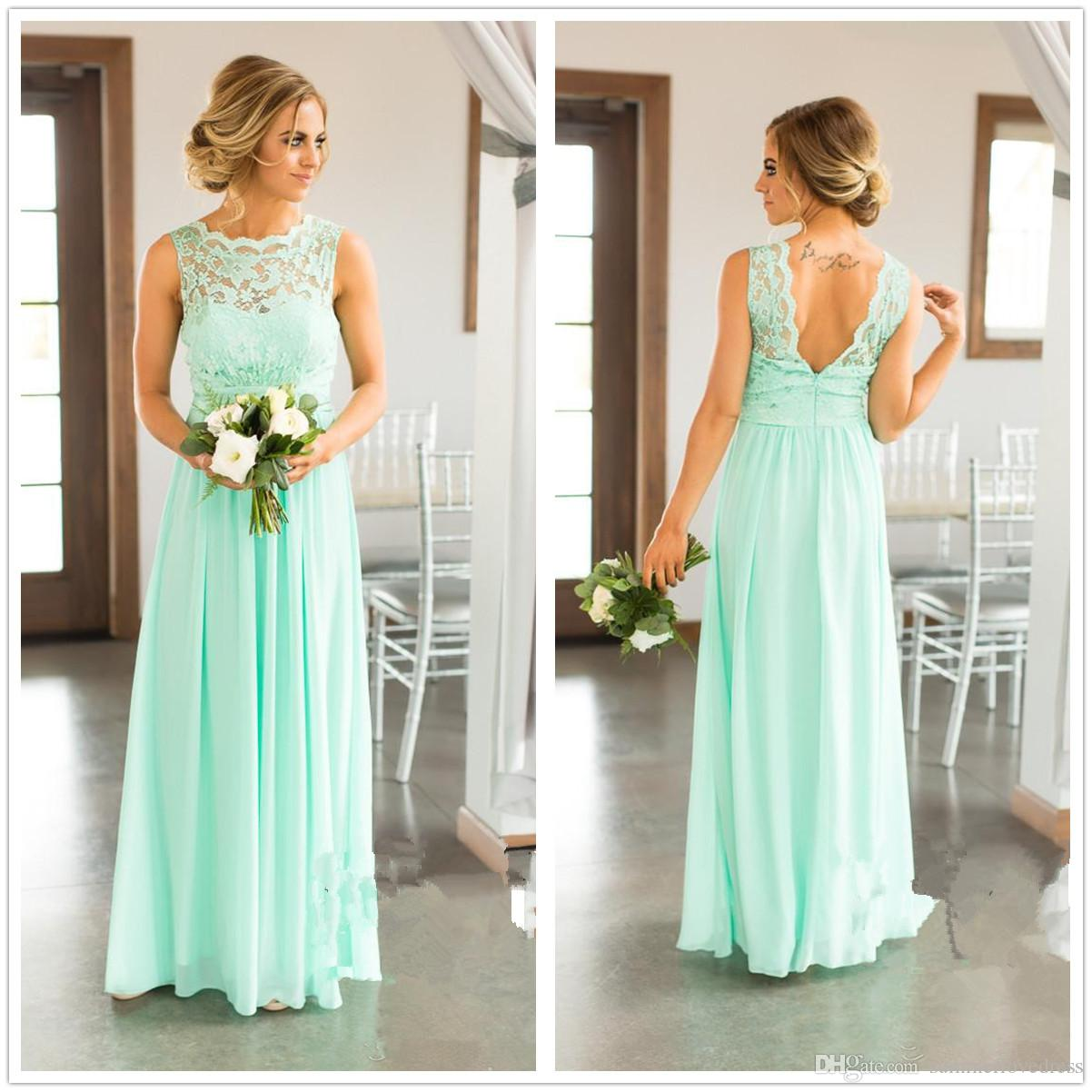 2c0b5108bc951 Elegant 2018 Mint Chiffon Country Long Bridesmaid Dresses Sleeveless Lace  Top Floor Length Evening Party Prom Dresses Canada 2019 From  Summerlovedress, ...