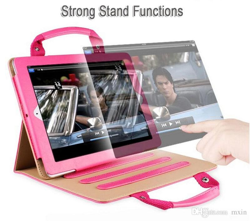 Striped Contrast Color Stand Leather Hand Bag Smart Cover Case Handbag For New iPad 2017 9.7 Pro 10.5 2 3 4 5 Air Mini