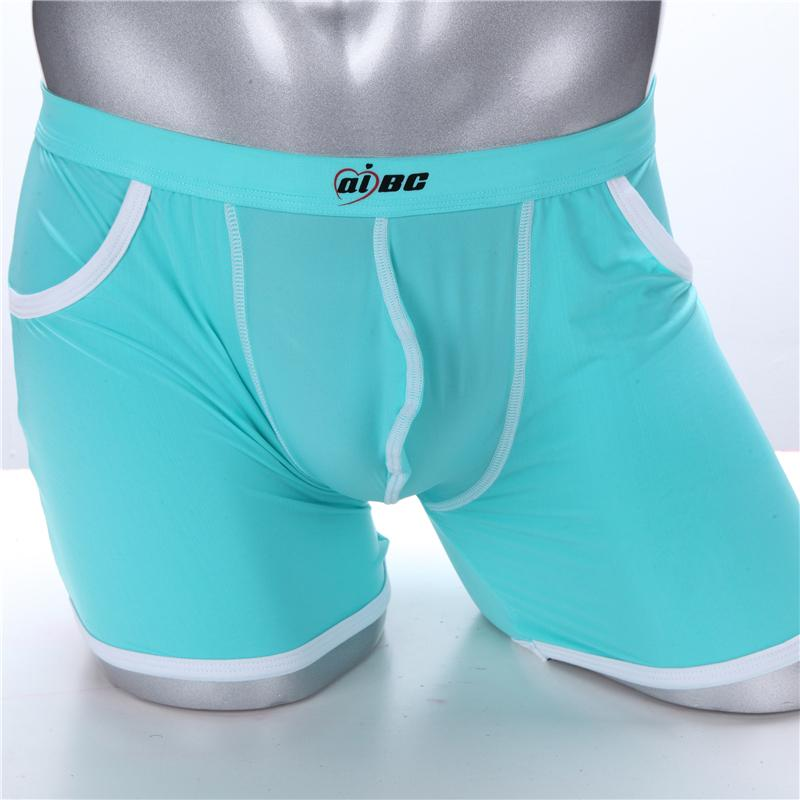 Men's Underwear Boxer Shorts Thin-ice Silk Real Pockets Leg Men's Long Shorts Fashion Comfort Breathable Men's Boxers Underwaer Slip Panties