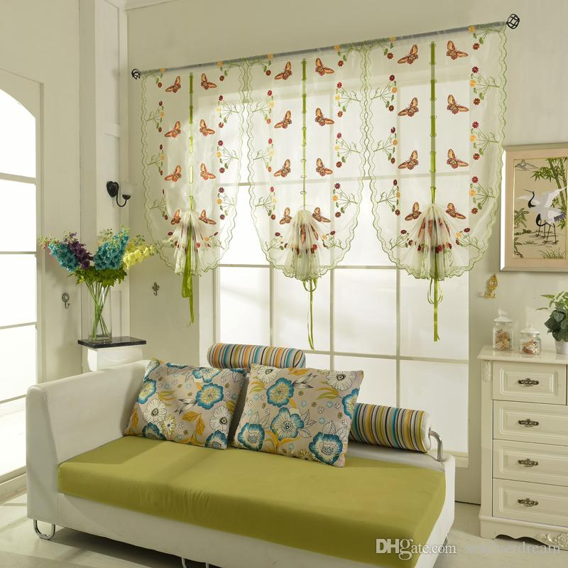 Roman SahdesBlinds Short Curtain Butterfly Printed Curtains For Kitchen Coffee Tulle Yarn Sheer Cortinas Skylight Shades Blinds