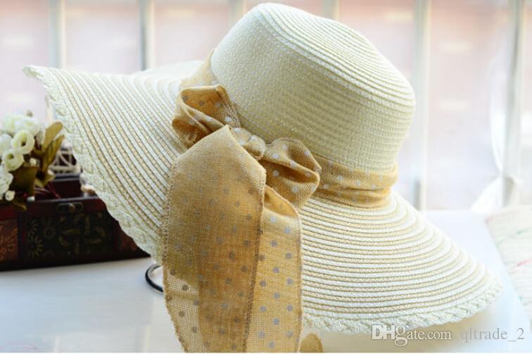 Cappello estivo da spiaggia protezione solare UV cappello a tesa larga fiocco cappello a cupola cappello di paglia cappello di paglia cappelli a tesa larga