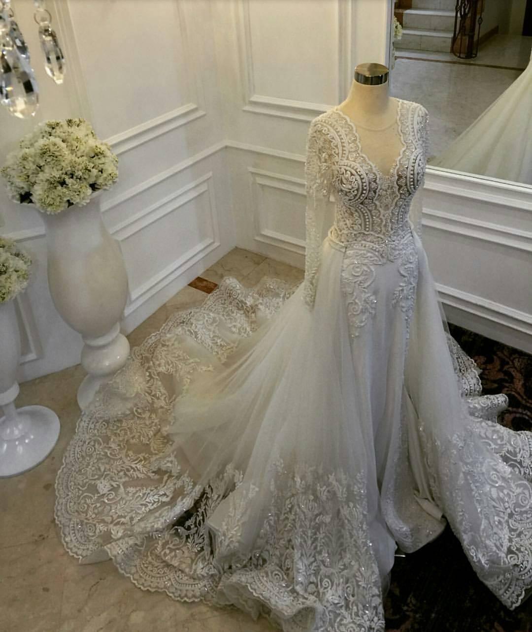 2019 인어 웨딩 드레스 분리형 열차 깎아 지른 보석 목 레이스 아첨 긴팔 웨딩 드레스가있는 신부 가운