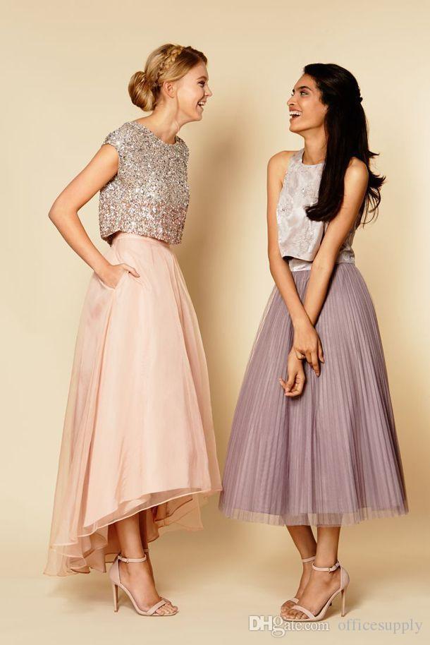 2016 vestidos de baile de dama de honra sparkly duas peças lantejoulas top vintage comprimento de chá vestidos de baile vestidos festa de casamento feito sob encomenda