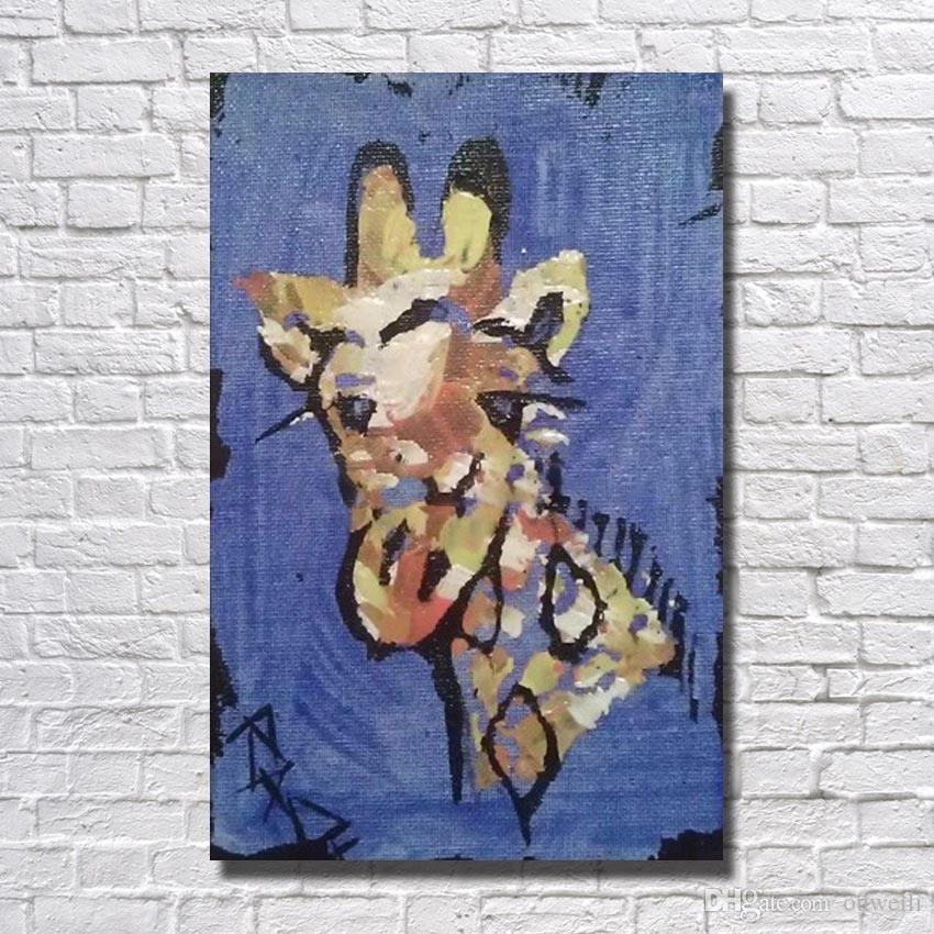 Large size newest arrive canvas fabric painting pictures animal giraffe oil painting modern pot painting pictures