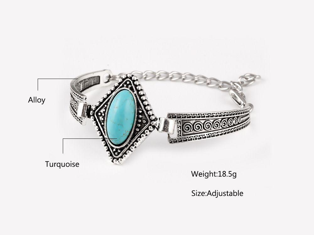 Mix 8 style Turquoise bracelets fashion jewelry big green turquoise charm bracelets retro bracelet silver plated bangle TB0020