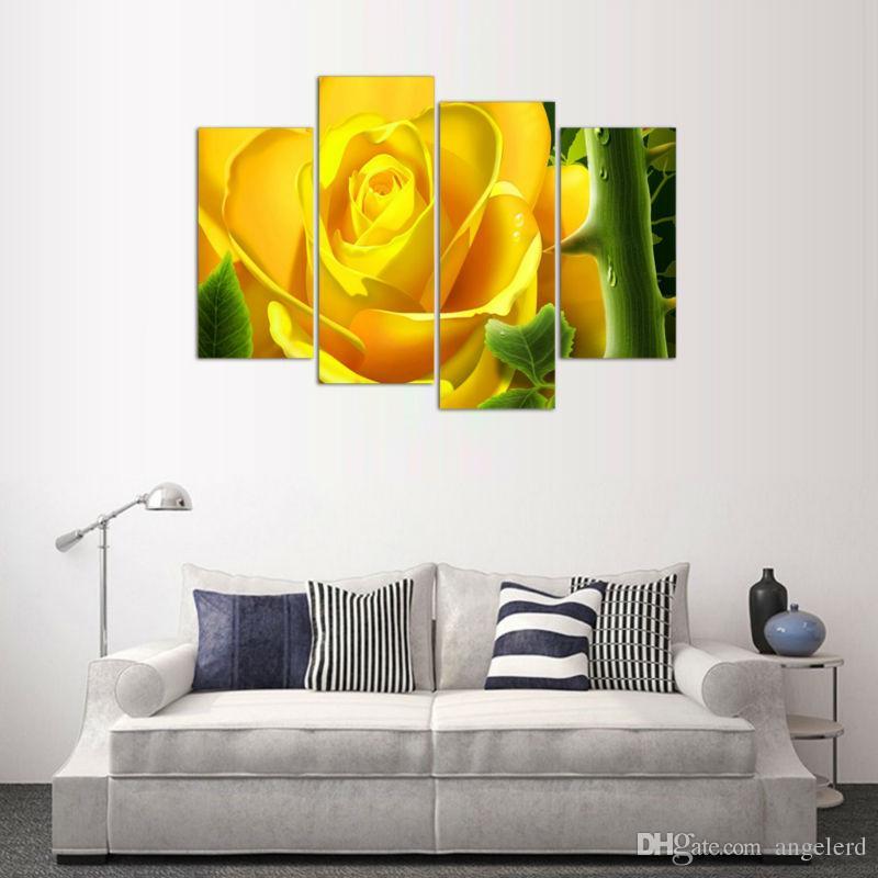 Großhandel 4 Panel Gelbe Blume Gemälde Leinwand Wand Kunst Bild Home Dekoration  Wohnzimmer Leinwand Print Modern Painting W0035 Von Angelerd, $9.08 Auf De.