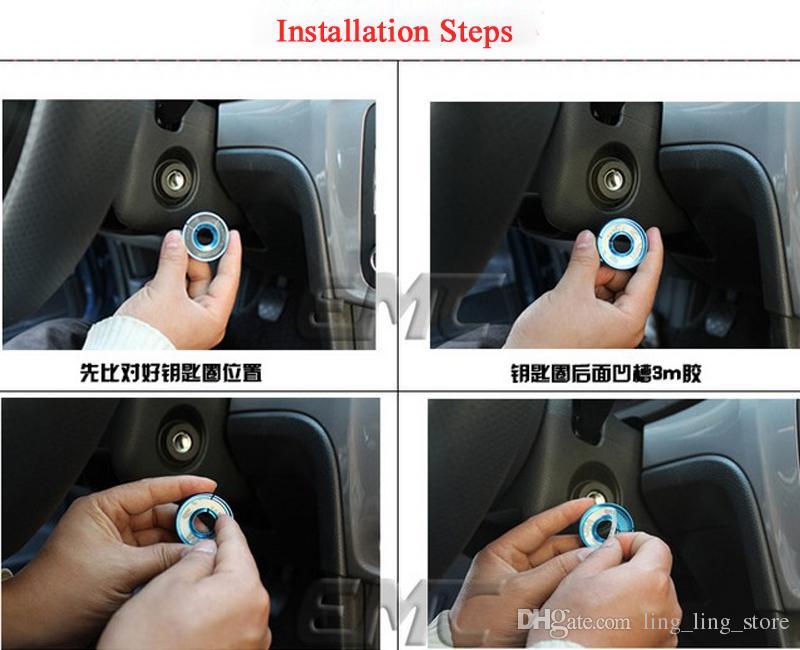سبائك الألومنيوم مفتاح الإشعال حلقة اتجاه سيارة التصميم لأودي a1 a3 a4 q3 tt s3 tts أسود أحمر أزرق الفضة