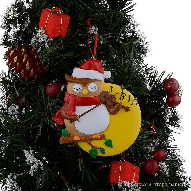 Resin Glossy Violin Owl Personalized Christmas Ornaments Used For Holiday Keepsake Gifts and Home Decor